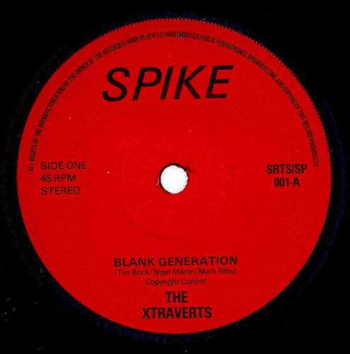 "XTRAVERTS, THE - Blank Generation - 7"" (-/VG+) (P)"