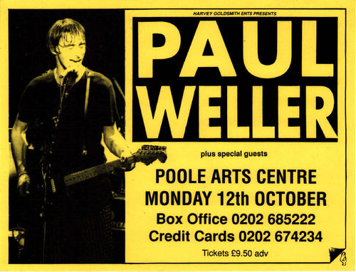 "WELLER, PAUL - A5 Gig Flyer for ""Poole Arts Centre"" from Monday 12th October 1998 FLYER (EX)"