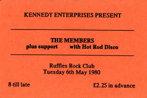 MEMBERS, THE - Gig Ticket from Tuesday 6th May 1980 (EX)