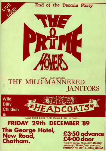 "THE PRIME MOVERS, THEE HEADCOATES & THE MILD-MANNERED JANITORS - 12"" x 17"" POSTER (VG+)"