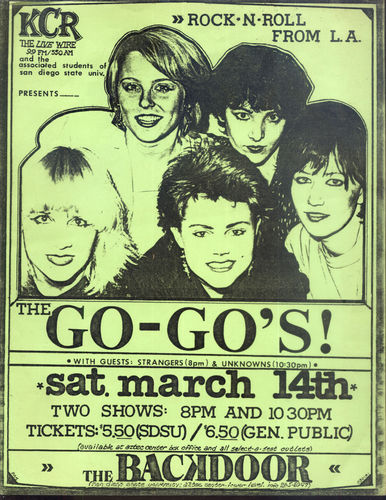 GO-GO'S, THE, THE STRANGERS & THE UNKNOWNS - 216mm x 278mm DAYGO GREEN GIG POSTER (EX)