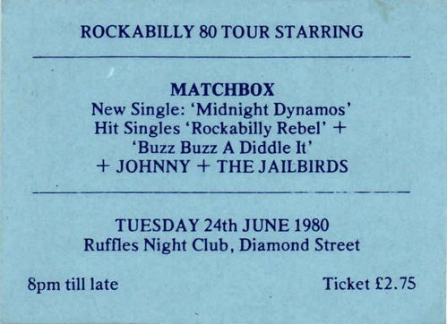 MATCHBOX & JOHNNY & THE JAILBIRDS - Gig Ticket from Tuesday 24th June 1980 (EX)