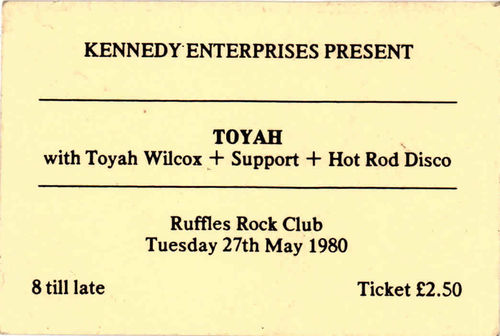 TOYAH - Gig Ticket from Tuesday 27th May 1980 (EX)