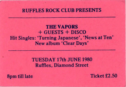 VAPORS, THE - Gig Ticket from Tuesday 17th June 1980 (EX)
