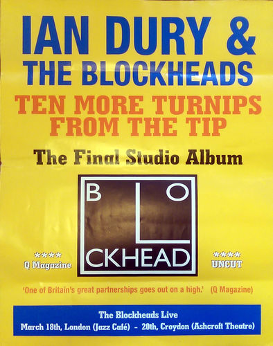 DURY, IAN & THE BLOCKHEADS - 50cm x 70cm Ten More Turnips From The Tip POSTER (EX)