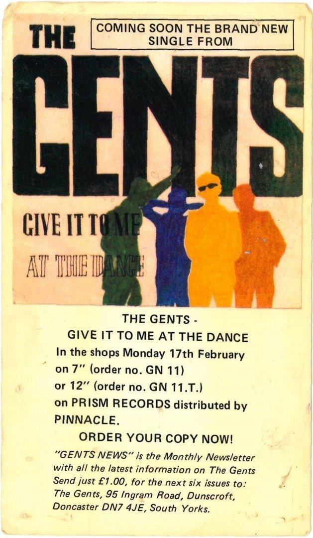 gents the give it to me promo postcard vg d1 detour records