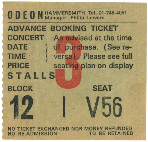 TUBES, THE - Friday 11th November 1977 GIG TICKET (EX) (D1)