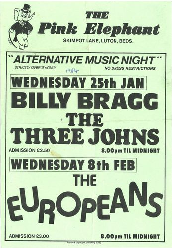 BILLY BRAGG & THE THREE JOHNS - A4 Gig Flyer 1984 (EX) (D1)