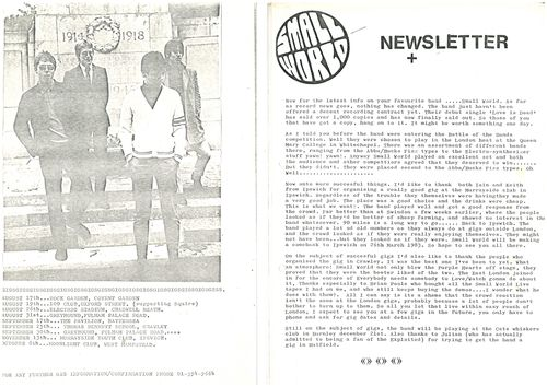 SMALL WORLD - Fan Club News Letters JAN 85 (EX) (G.B)