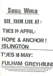 SMALL WORLD - Set Of 5 x Gig Flyers 1982/83 (EX)