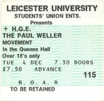 PAUL WELLER MOVEMENT - Tuesday 4th Decemeber GIG TICKET (EX) (D1)
