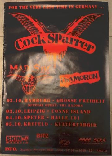 COCK SPARRER / MAD SIN / OXYMORON - 59cm x 84cm GERMAN TOUR POSTER 1997 (EX)